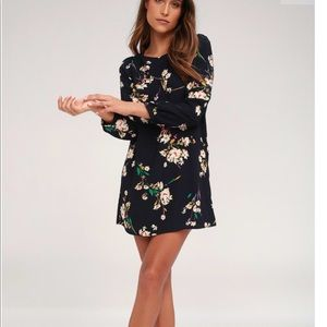 Lulu's herbaceous babe floral navy shift dress